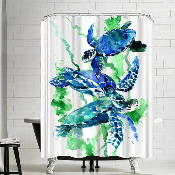 East Urban Home Suren Nersisyan Sea Turtles Underwater Scene Single Shower Curtain Wayfair
