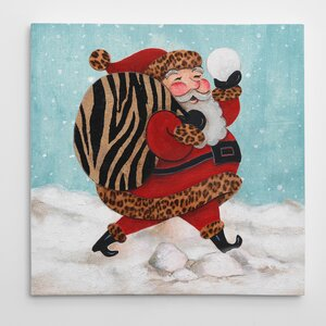 'Santa and a Bag of Toys' Graphic Art on Wrapped Canvas