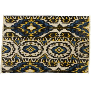 Price comparison One-of-a-Kind Ikat Hand-Knotted Multicolor Area Rug ByDarya Rugs
