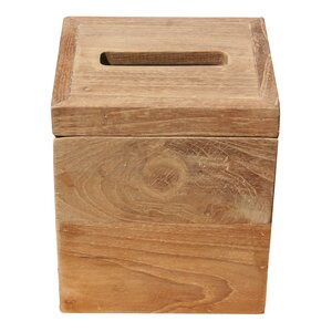 Square Recycled Teak Tissue Box Cover Chic Teak
