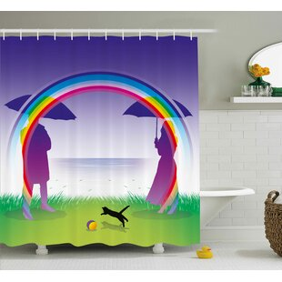 Romantic Couple under Rainbow Single Shower Curtain