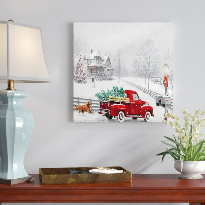 Winter Truck Led Graphic Art Print On Canvas