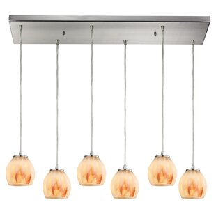 Cantrell 6-Light Glass Frosted Cluster Pendant by Latitude Run