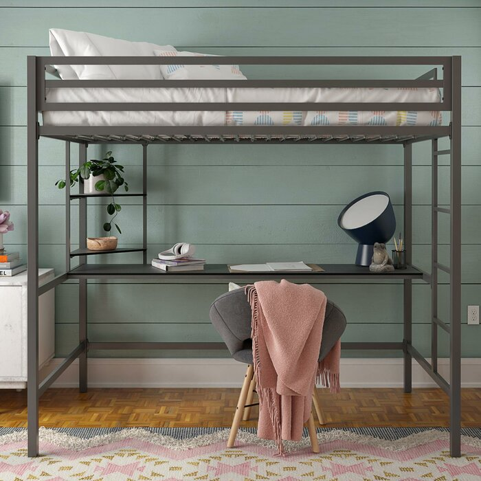 Maxwell Metal Loft Bed with Shelves