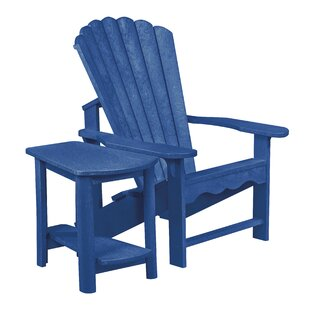 Beachcrest Home Alanna Plastic Adirondack Chair with Table