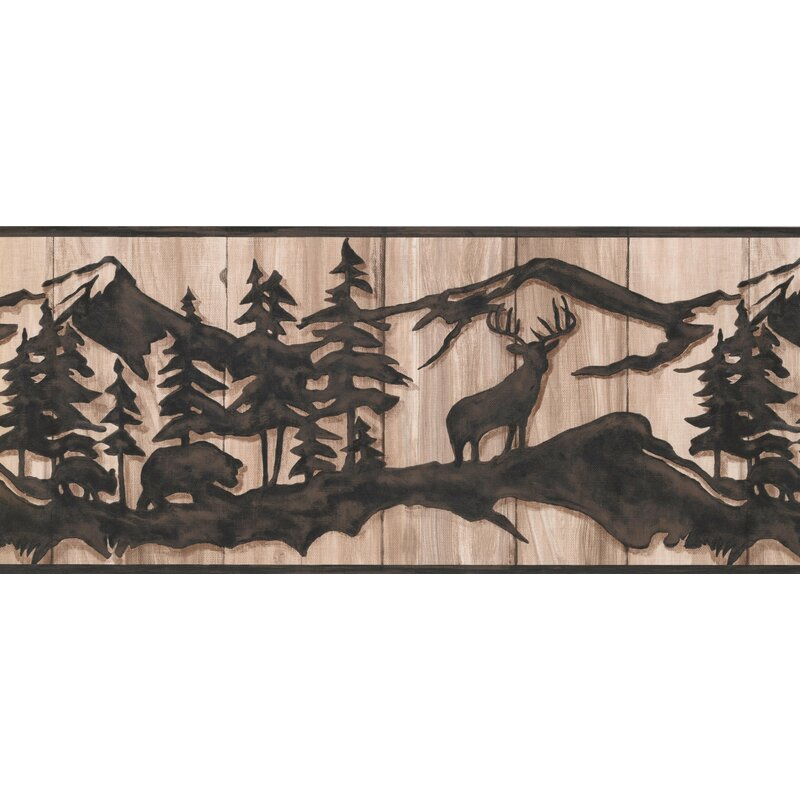 York Wallcoverings Pine Abstract Wild Forest Deer Bear Faux Wood 15