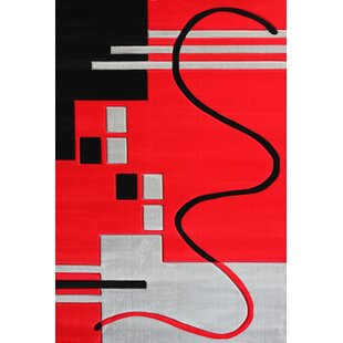 Comparison Vanderbilt Machine woven Polypropylene Red/Black Area Rug By Orren Ellis