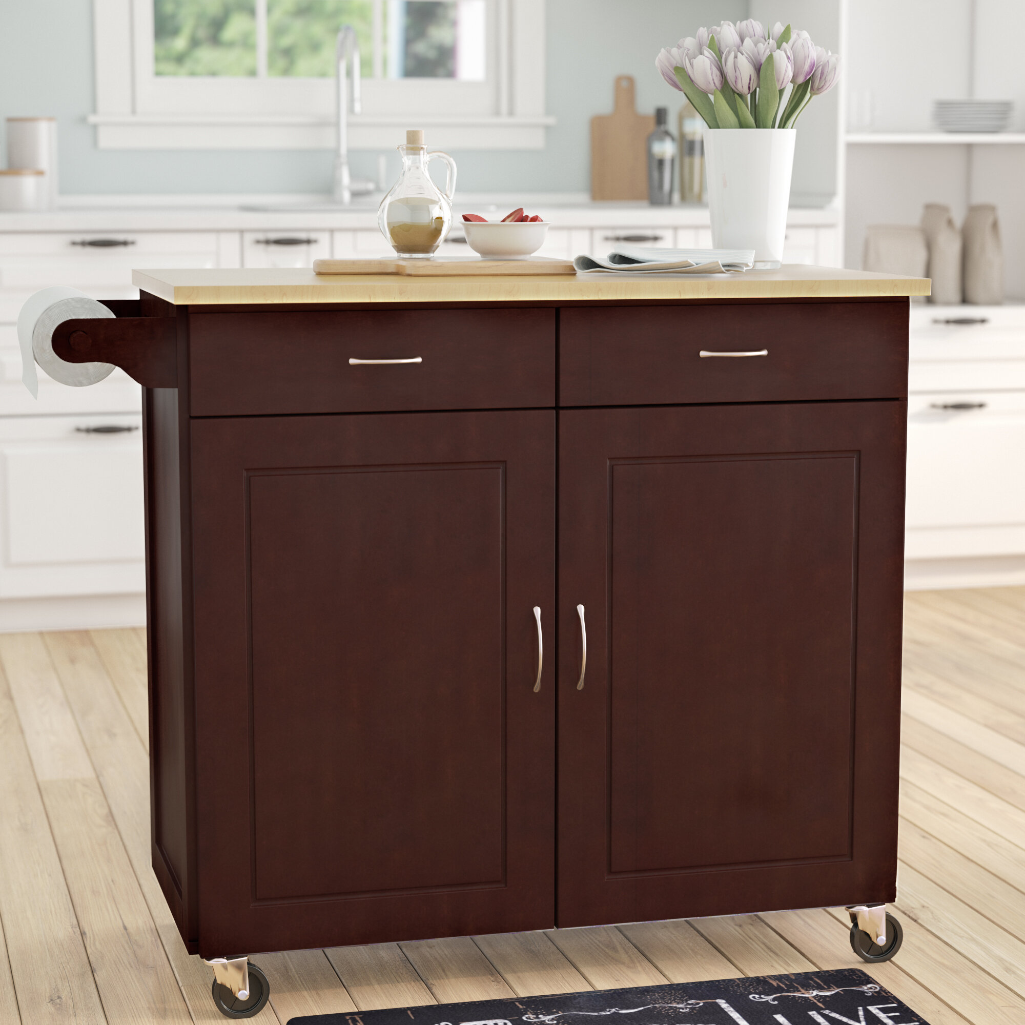 Alcott Hill Sammons Kitchen Island with Wood Top & Reviews | Wayfair