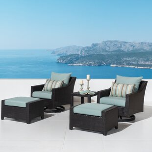 Northridge 5 Piece Rattan Deep Seating Club Chair Conversation Set with Sunbrella Cushions