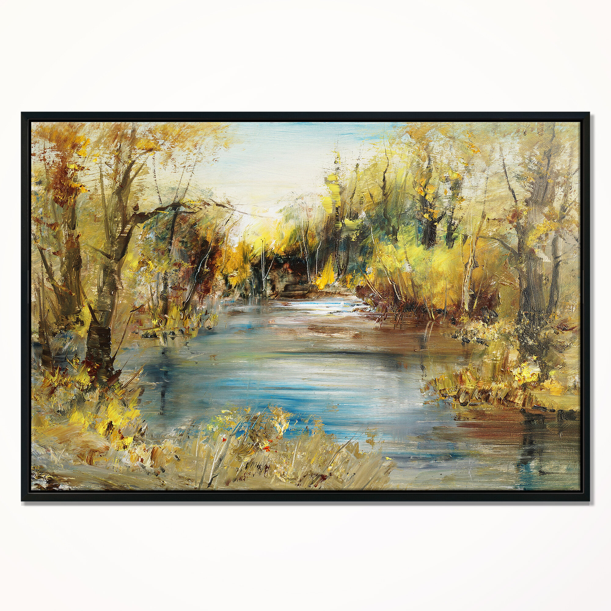 East Urban Home Lake In Forest Framed Oil Painting Print On Wrapped Canvas Wayfair