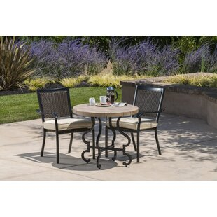 Rushmore 3 Piece Bistro Set with Cushions by Gracie Oaks