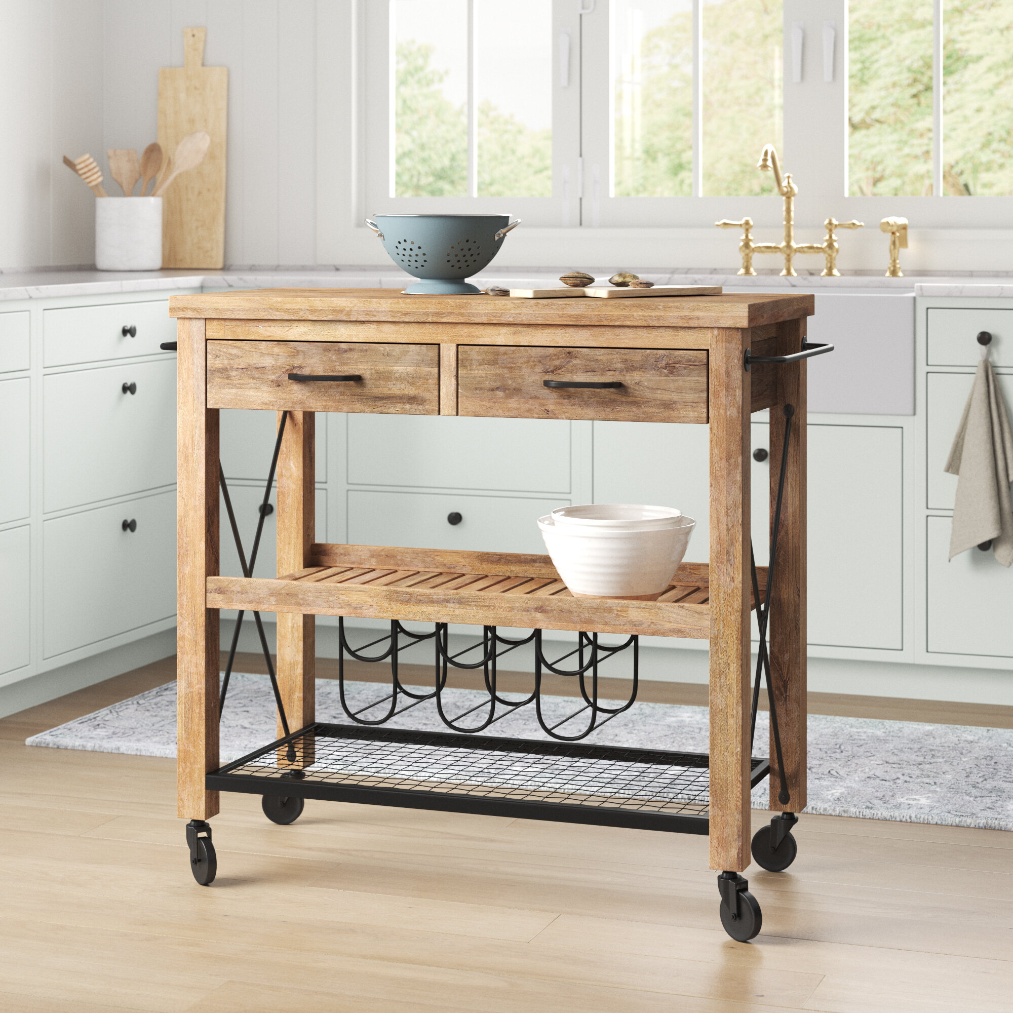 Sand Stable Anne 41 Kitchen Island With Solid Wood Top Wayfair