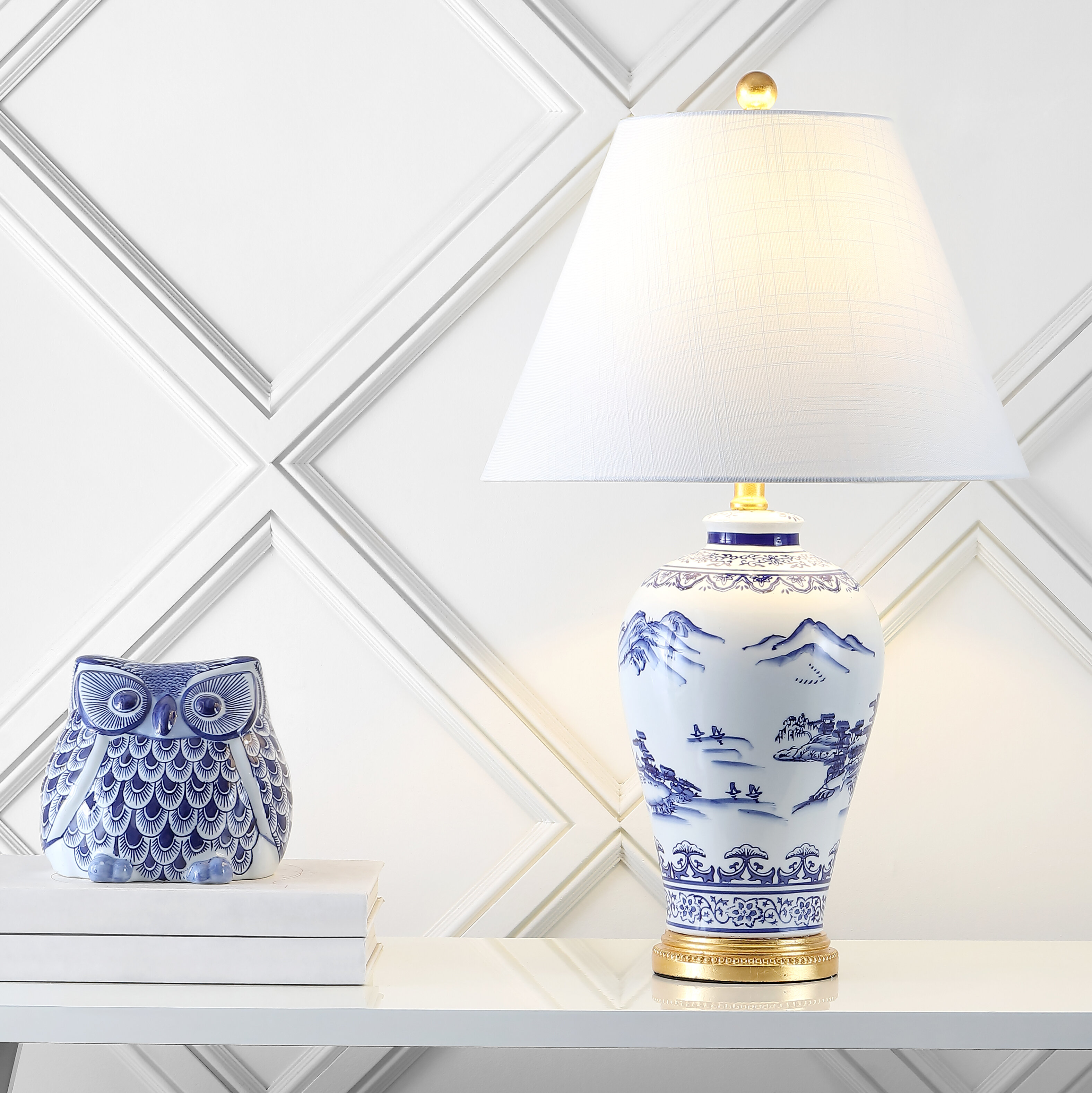 Picture of: Bloomsbury Market Dianella 26 5 Blue White Table Lamp