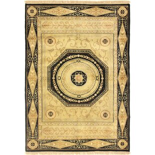 Buy clear Hand-Woven Wool Gold/Black Area Rug ByAstoria Grand