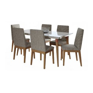 Lemington 7-Piece 70.86 Solid Wood Dining Set with 6 Dining Chairs in Off White and Grey George Oliver
