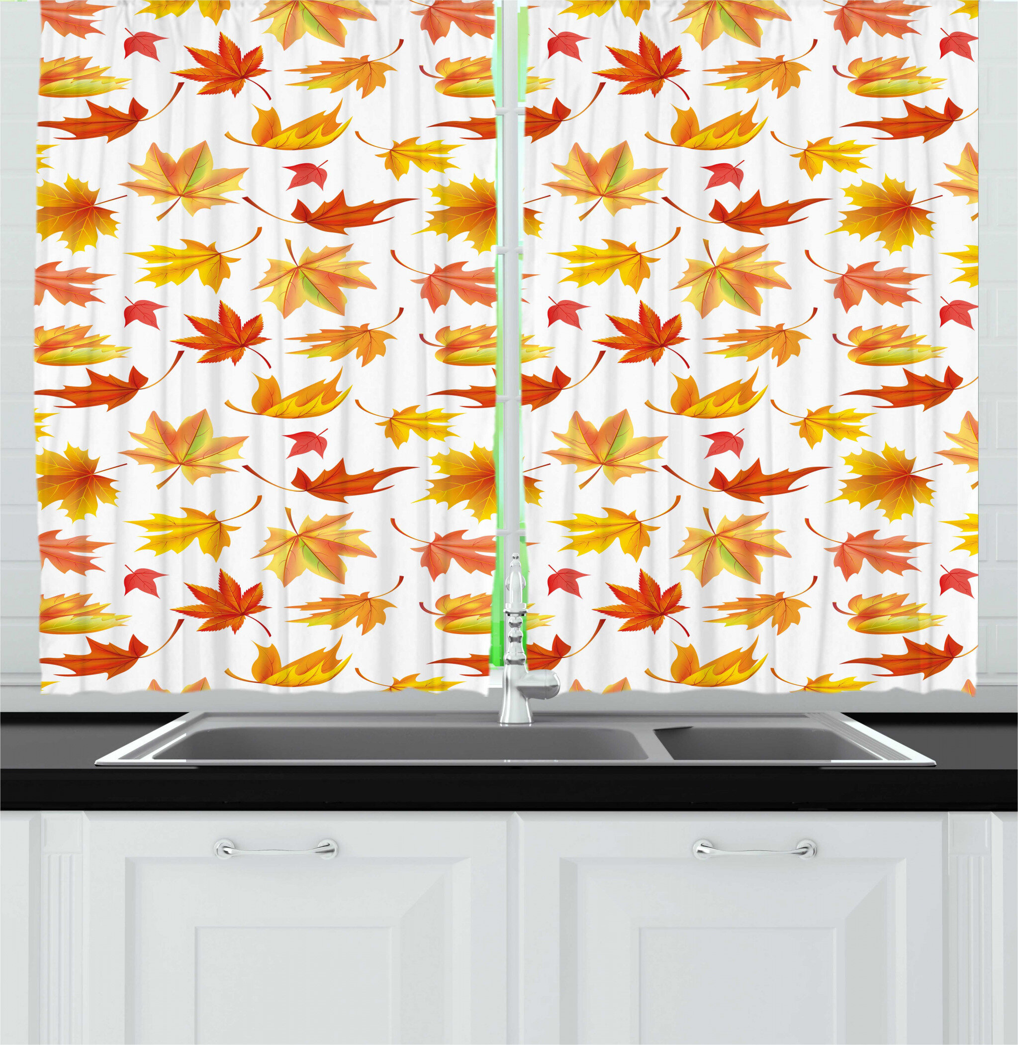 East Urban Home Autumn Demonstration Of Fallen Maple Leaves On A Plain Background Fall Season Kitchen Curtain Wayfair