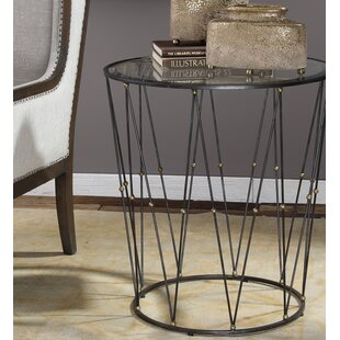 Lyla Round Caged End Table by 17 Stories