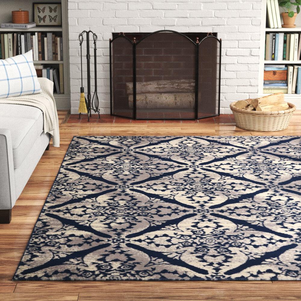 Andover Mills Mulfo Power Loom Blue Gray Rug Reviews Wayfair