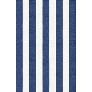 Affordable Waterfield Stripe Hand-Woven Wool Navy Blue/White Area Rug By Breakwater Bay