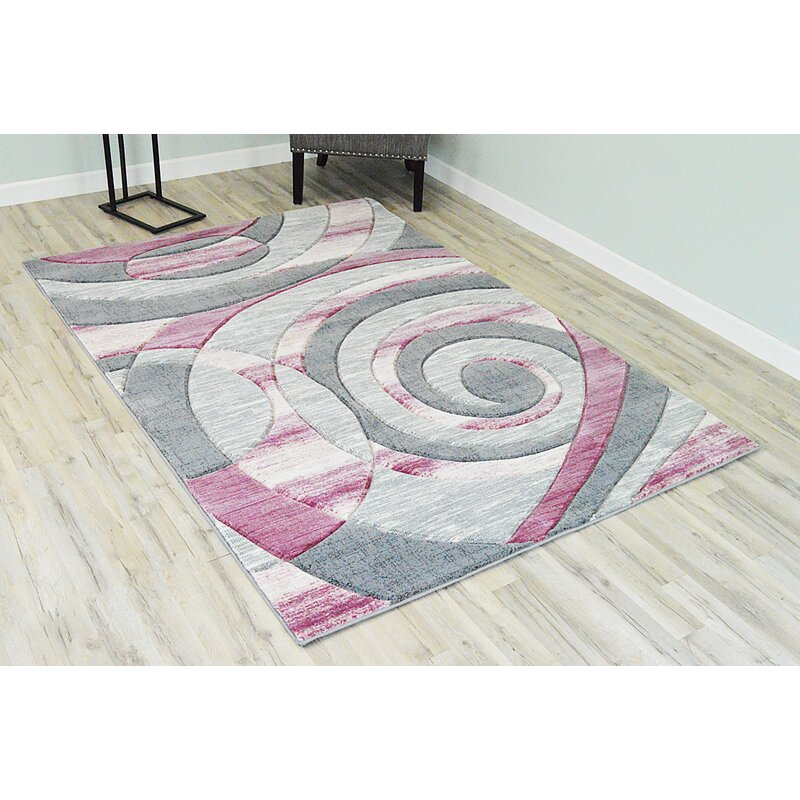 Ivy Bronx Mccampbell 3d Hand Carved Abstract Gray Pink Area Rug Reviews Wayfair