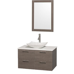 Best Amare 36 Single Gray Oak Bathroom Vanity Set with Mirror ByWyndham Collection