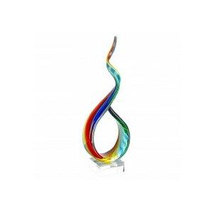 Khadijah Rainbow Ribbon Murano Glass Centerpiece Sculpture
