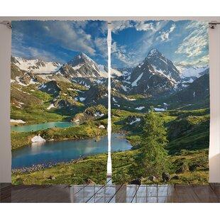 Lake Decor Nature Room Darkening Rod Pocket Curtain Panels (Set of 2) by East Urban Home