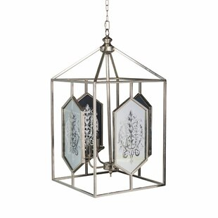 One Allium Way Journey Vintage Glamour Iron 4-Light Lantern Chandelier