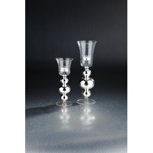 2 Piece Glass Hurricane Set