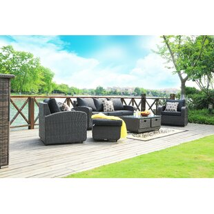 Mestas 5 Piece Rattan Sofa Seating Group with Cushions