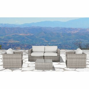 Vardin 5 Piece Rattan Sectional Set with Cushions by Rosecliff Heights