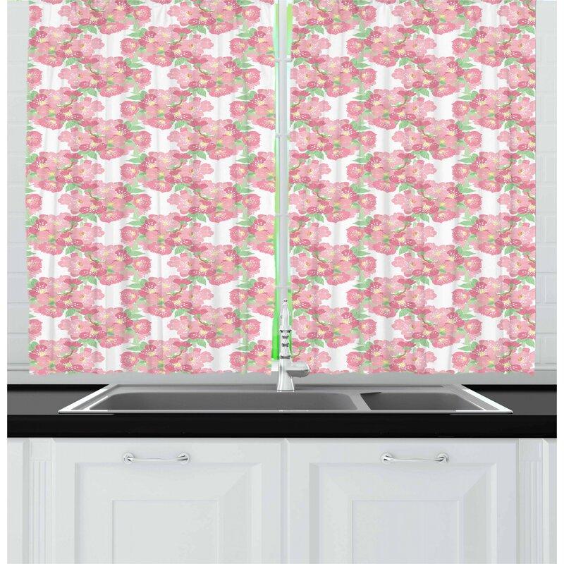East Urban Home Cherry Blossom Kitchen Curtain Wayfair