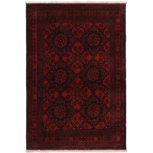 Read Reviews One-of-a-Kind Cremeans Hand-Knotted 4'10 x 6'7 Wool Red/Black Area Rug By Isabelline