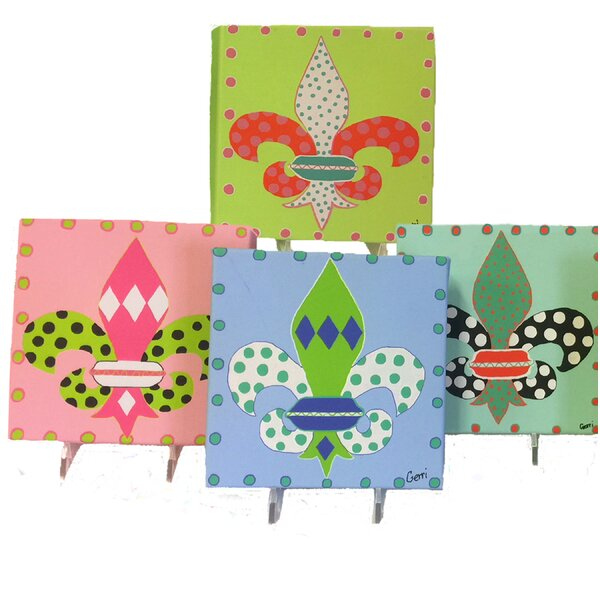 4 Piece Fleur D' Lis Mini Canvases Wall Décor Set