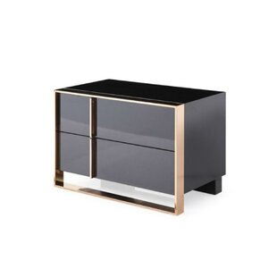 Find for West Stockbridge Wood and Metal 2 Drawer Nightstand by Everly Quinn