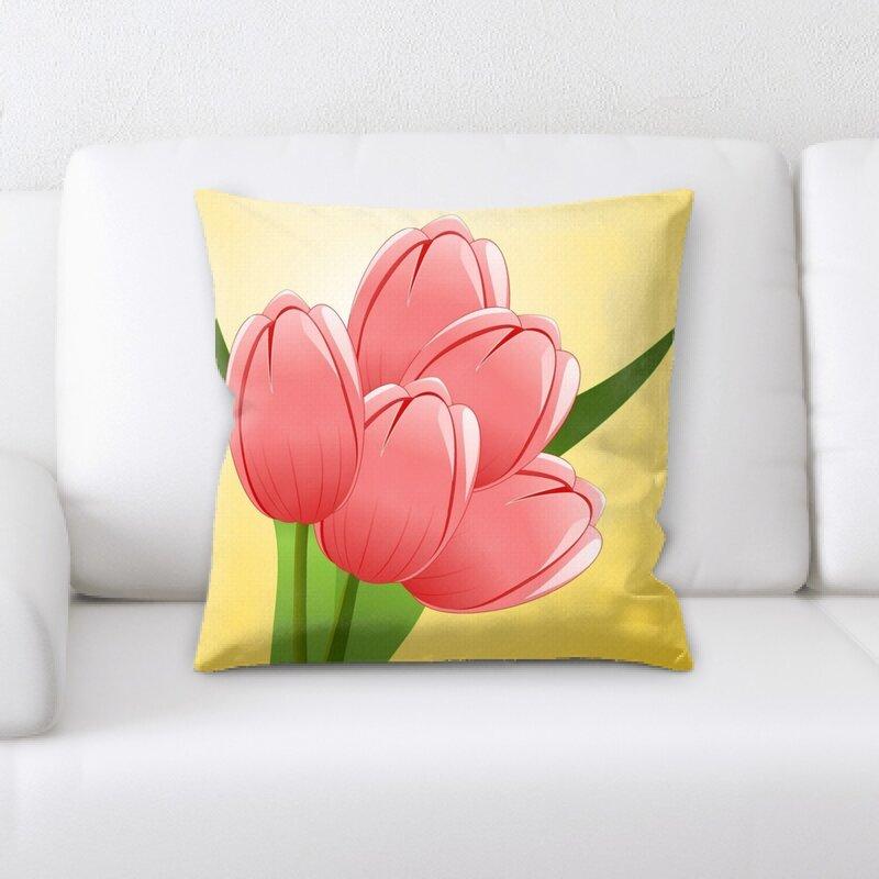 East Urban Home Tulips Throw Pillow Wayfair