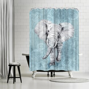 PI Creative Art Blue Paisley Elephant Shower Curtain ByEast Urban Home