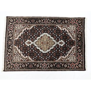 Look for One-of-a-Kind Wadsworth Fish Tabriz Hand-Knotted 2' x 3'1 Silk/Wool Black/BrownArea Rug By Isabelline