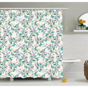 Flower Cherry Blossoms Pattern With Bumble Bees Japanese Spring Themed Chic Print Shower Curtain Set