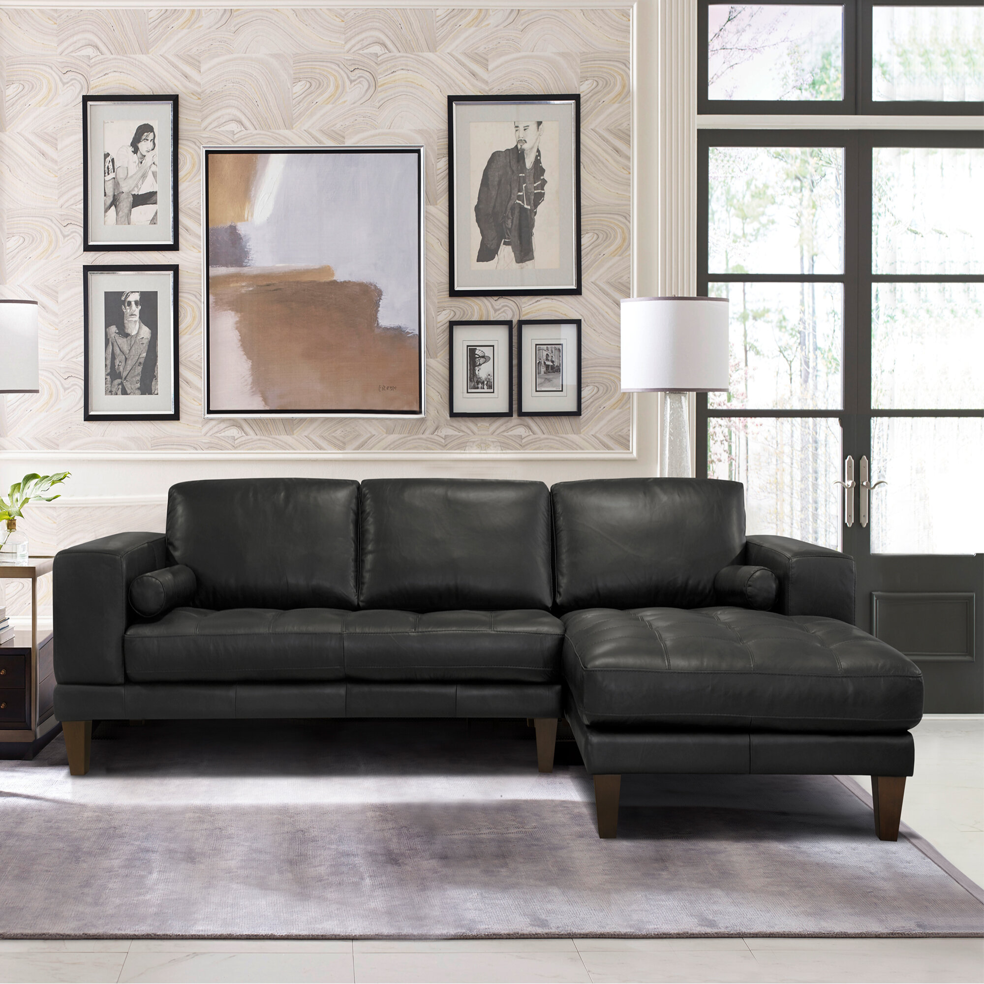 Surprising Randolph Contemporary Leather Right Hand Facing Sectional Gamerscity Chair Design For Home Gamerscityorg