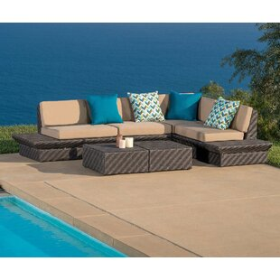 Tony 5 Piece Rattan Sunbrella Sectional Seating Group with Cushions