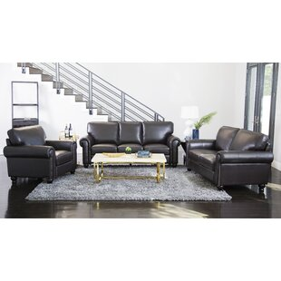 Darby Home Co Coggins 3 Piece Leather Living Room Set