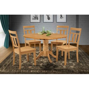 Chesterton 5 Piece Drop Leaf Solid Wood Dining Set by Alcott Hill Looking fort