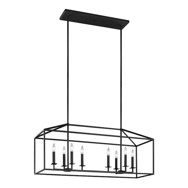 Odie 8-Light Kitchen Island Pendant This 8 light kitchen island light in blacksmith supplies ample lighting for your daily needs, while adding a layer of today's style to your home's decor. The transitional pendant light collection is inspired by stately, carriage lanterns. The updated open frame is formed with sleek square steel tubing and each pendant is a generously proportioned, minimalist silhouette. Incandescent candelabra base lamping. Damp rated, it is also ideal as a focal point on a covered patio or porch.