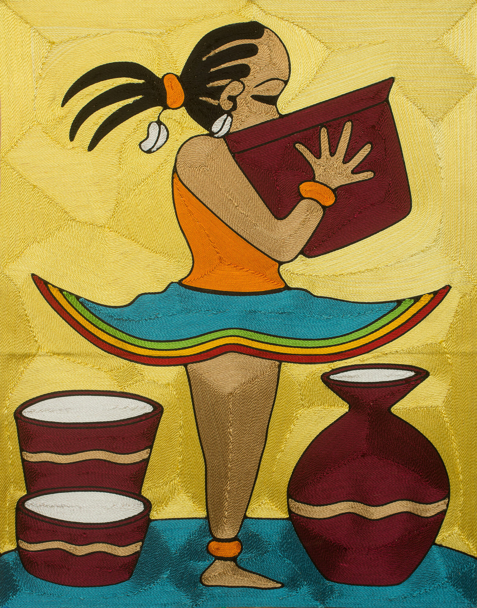 Novica Handmade Threadwork Art of Young African Girl with Bowl Ama ...