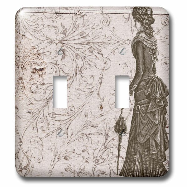 Fashionable Lady Steampunk Art 2-Gang Toggle Light Switch Wall Plate by 3dRose