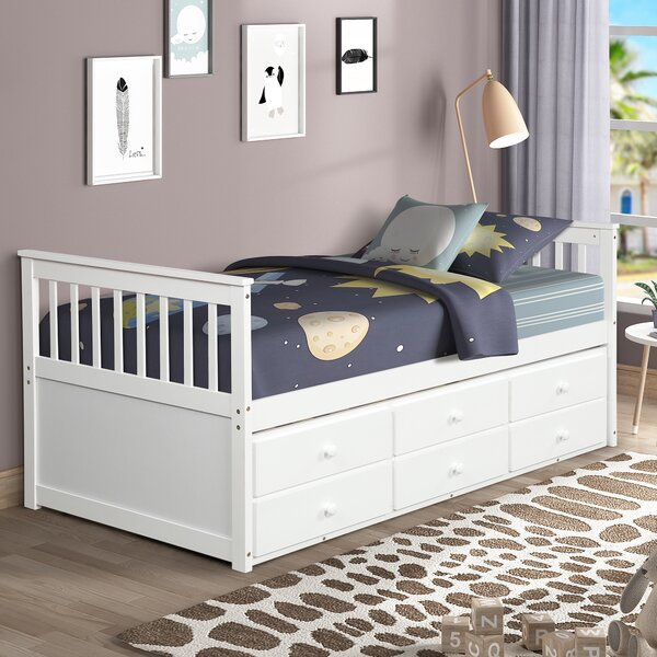 Red Barrel Studio Aulani Twin Mate S Captain S With Trundle And 3 Drawers Wayfair
