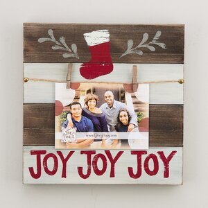 Joy Stocking Wood Clothespin Picture Frame