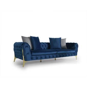 Bold Monkey Velvet Curved 71 Rolled Arm Sofa Wayfair