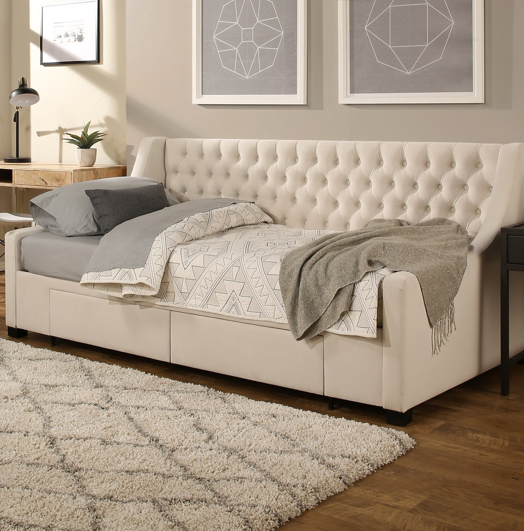 size 40 2cdf7 6b206 Aron Upholstery Storage Twin Daybed